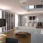 Квартира-студия в светлых тонах с зеркальной стеной