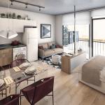 Просторная квартира-студия с большими окнами