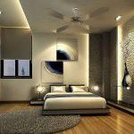 Сочетание серого, коричневого и темно-синего в спальне