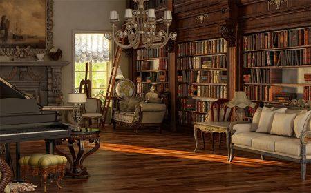 Библиотека в английской гостиной