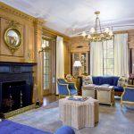 Золотисто-синяя расцветка комнаты