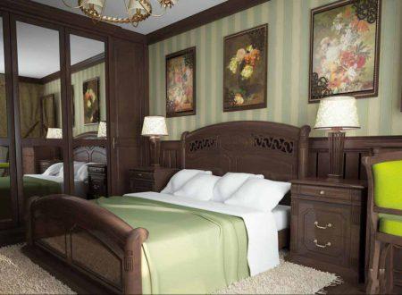 Спальня в английском стиле в темной мебелью