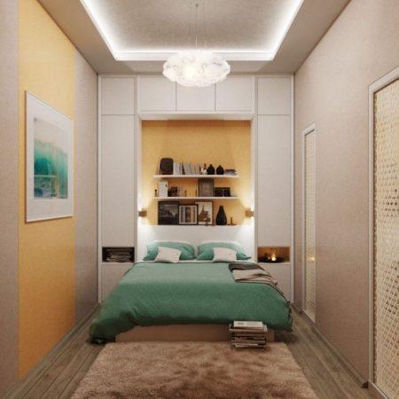 Расположение кровати в очень узкой комнате
